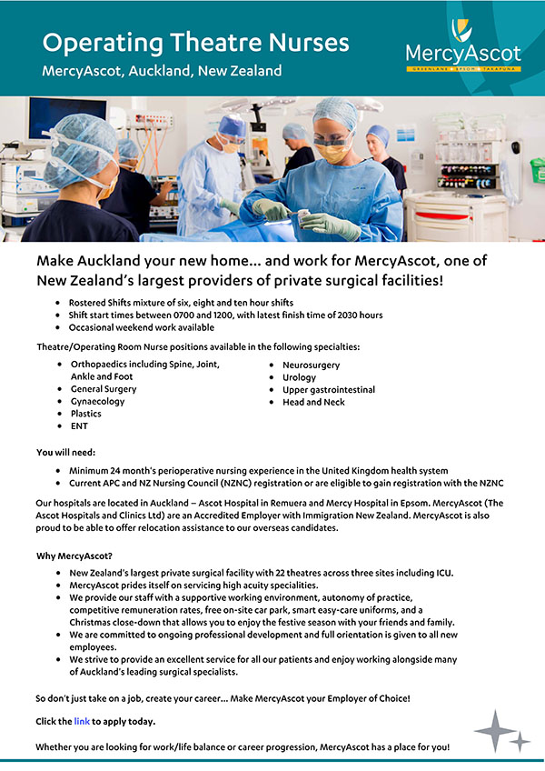 MercyAscot Operating Theatre Nurses - New Zealand