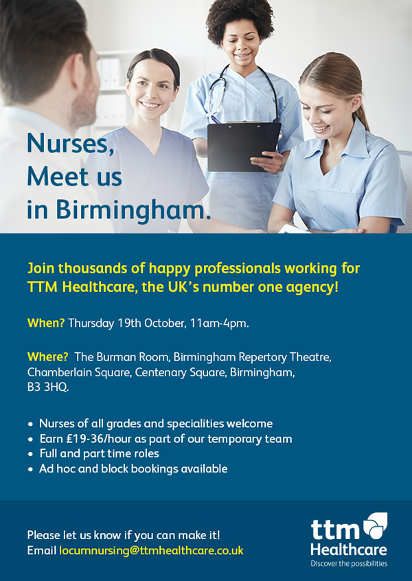 Join thousands of happy professionals working for TTM Healthcare, the UK's number one agency!